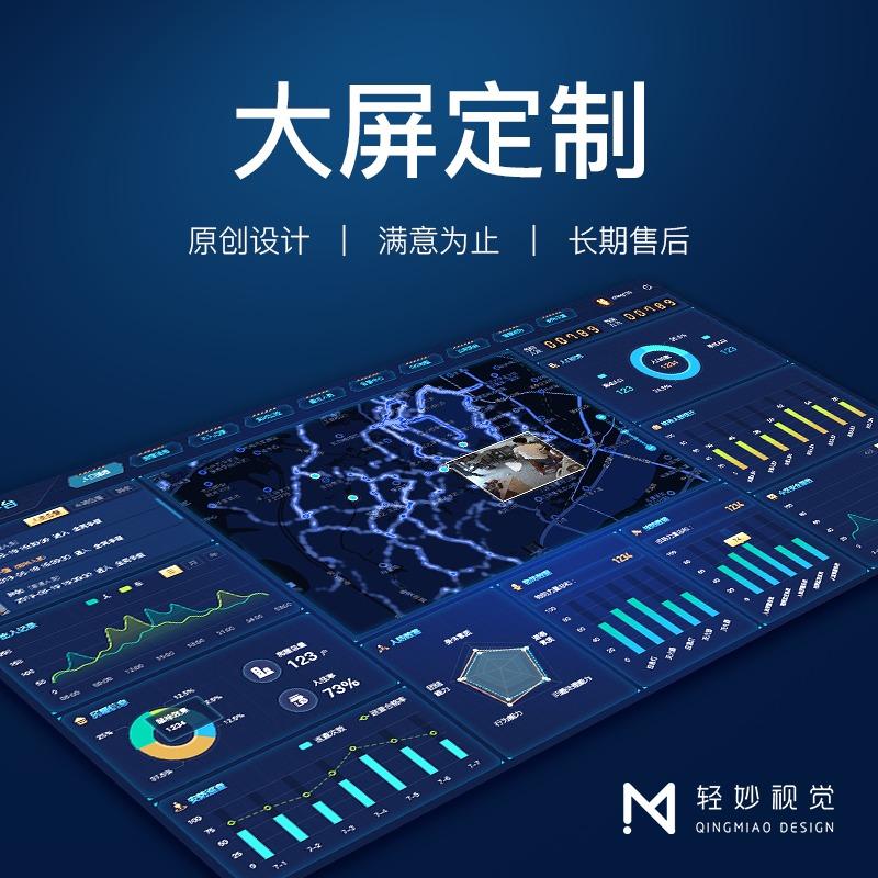 大屏可视化大数据软件UI页面设计界面工业后台静态响应式美工术