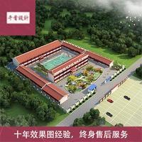 厂房效果图 建筑鸟瞰效果图 工业效果图 厂区规划农场设计