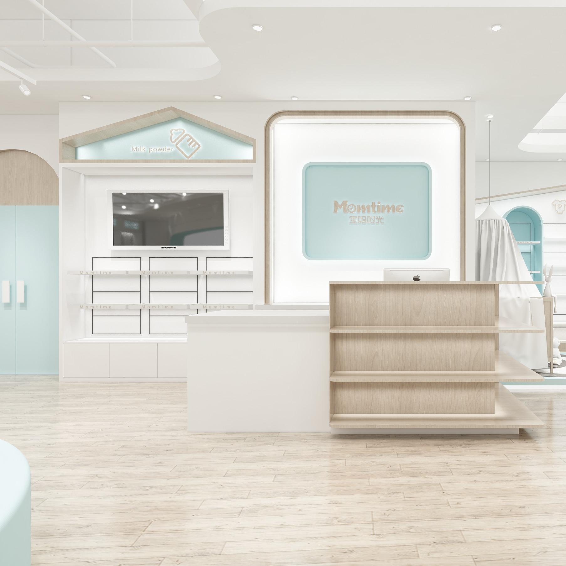 室内装修效果图展厅设计连锁加盟店面设计专卖店外观装修母婴店