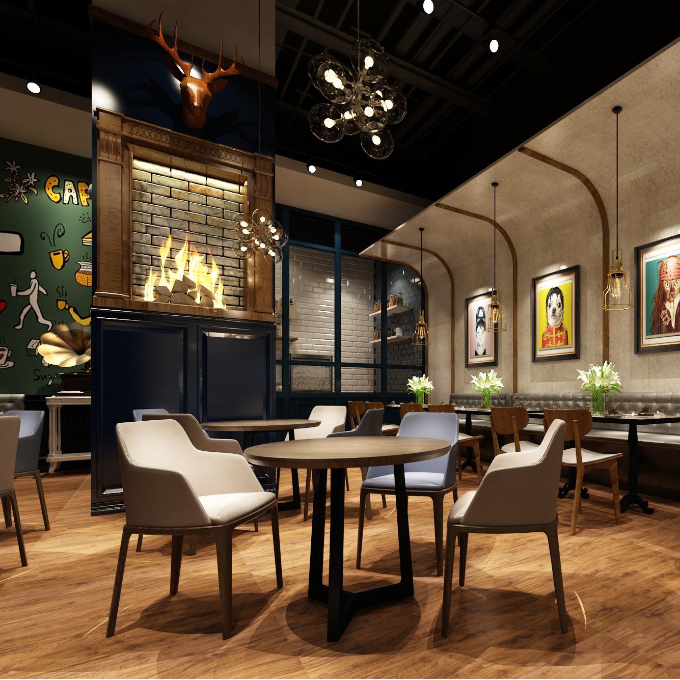 蛋糕店装修设计烘焙坊装修设计效果图咖啡厅西餐厅装修设计