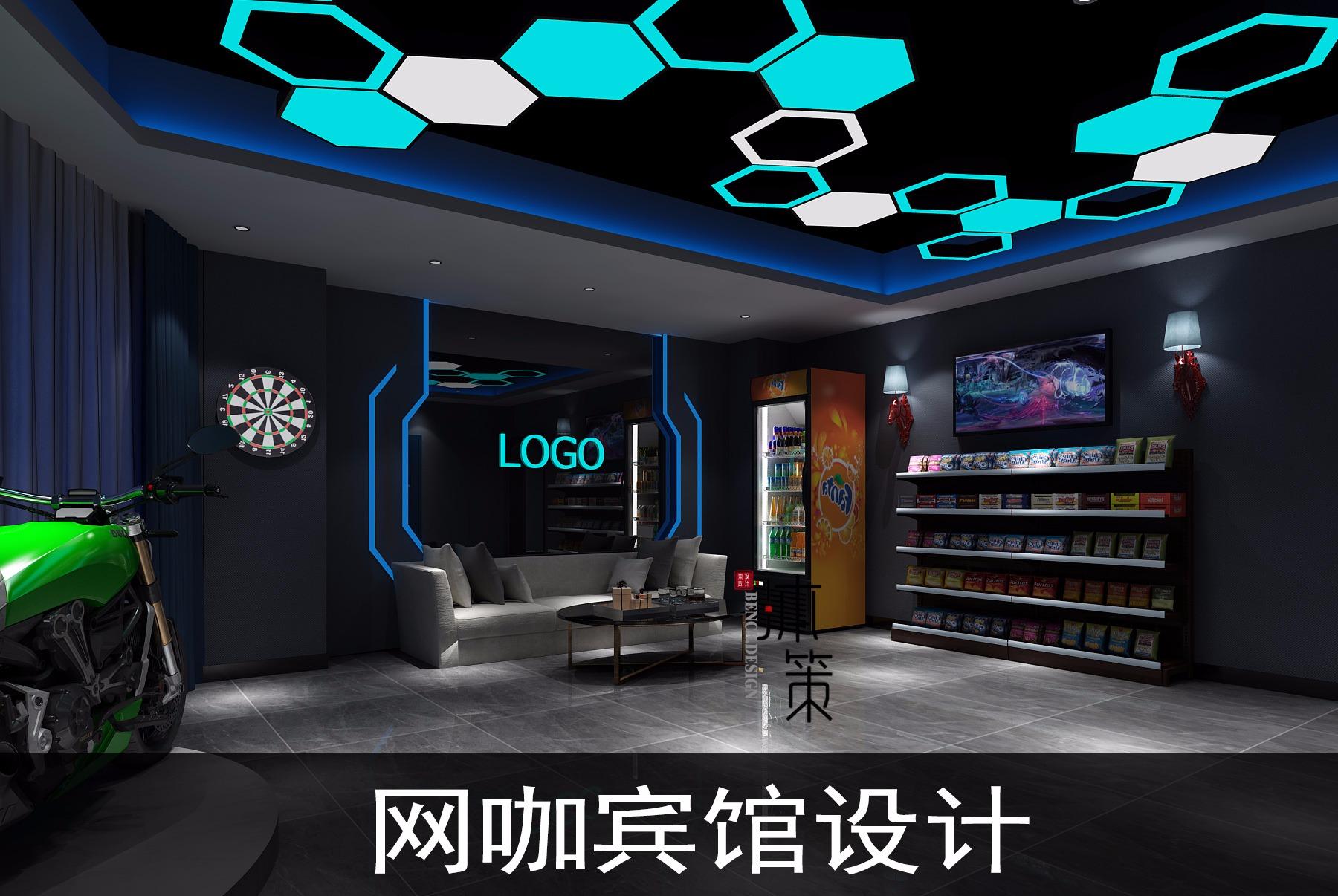 网咖公装效果图设计餐饮店门KTV门头效果图设计宾馆设计
