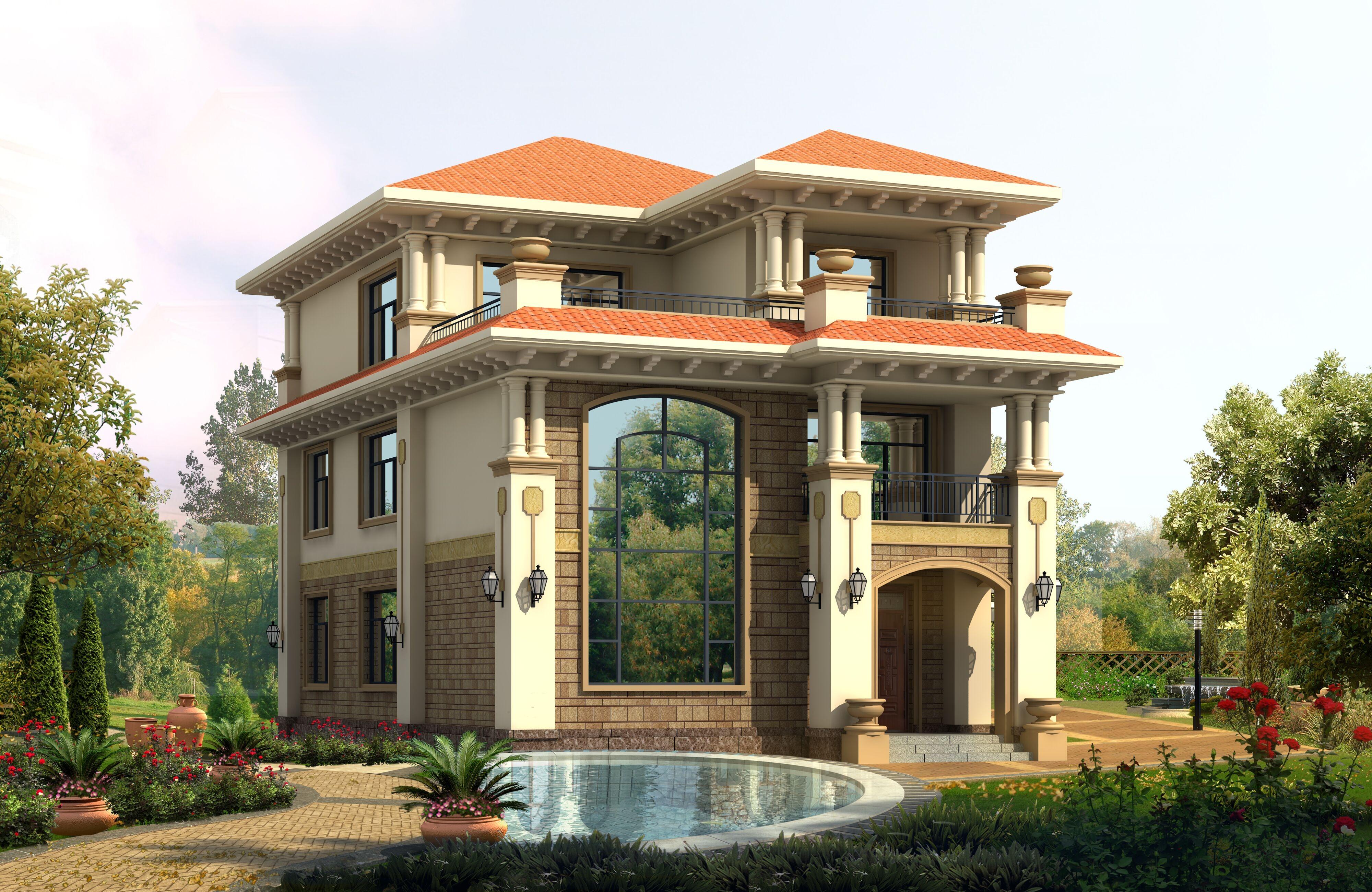 欧式新农村自建房设计图纸小别墅乡村二三层半房屋施工图全套定制