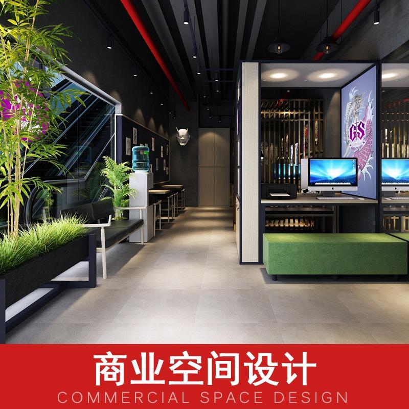 商业空间设计展厅设计店铺门头设计纹身店装修设计室内效果图设计