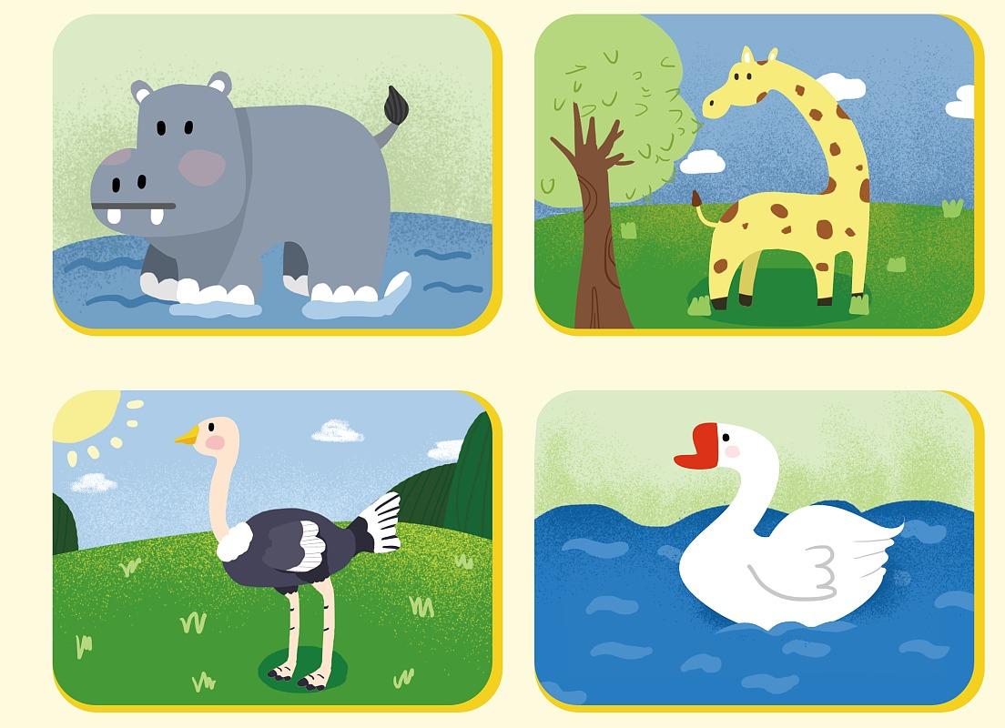 商业卡通手绘插画儿童绘本制作场景四格多格宣传漫画设计