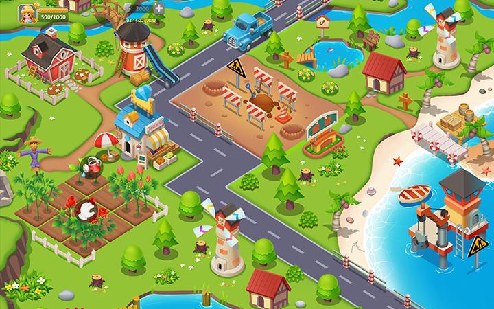 农场游戏原画设计/游戏场景设计/游戏道具设计/启动页设计