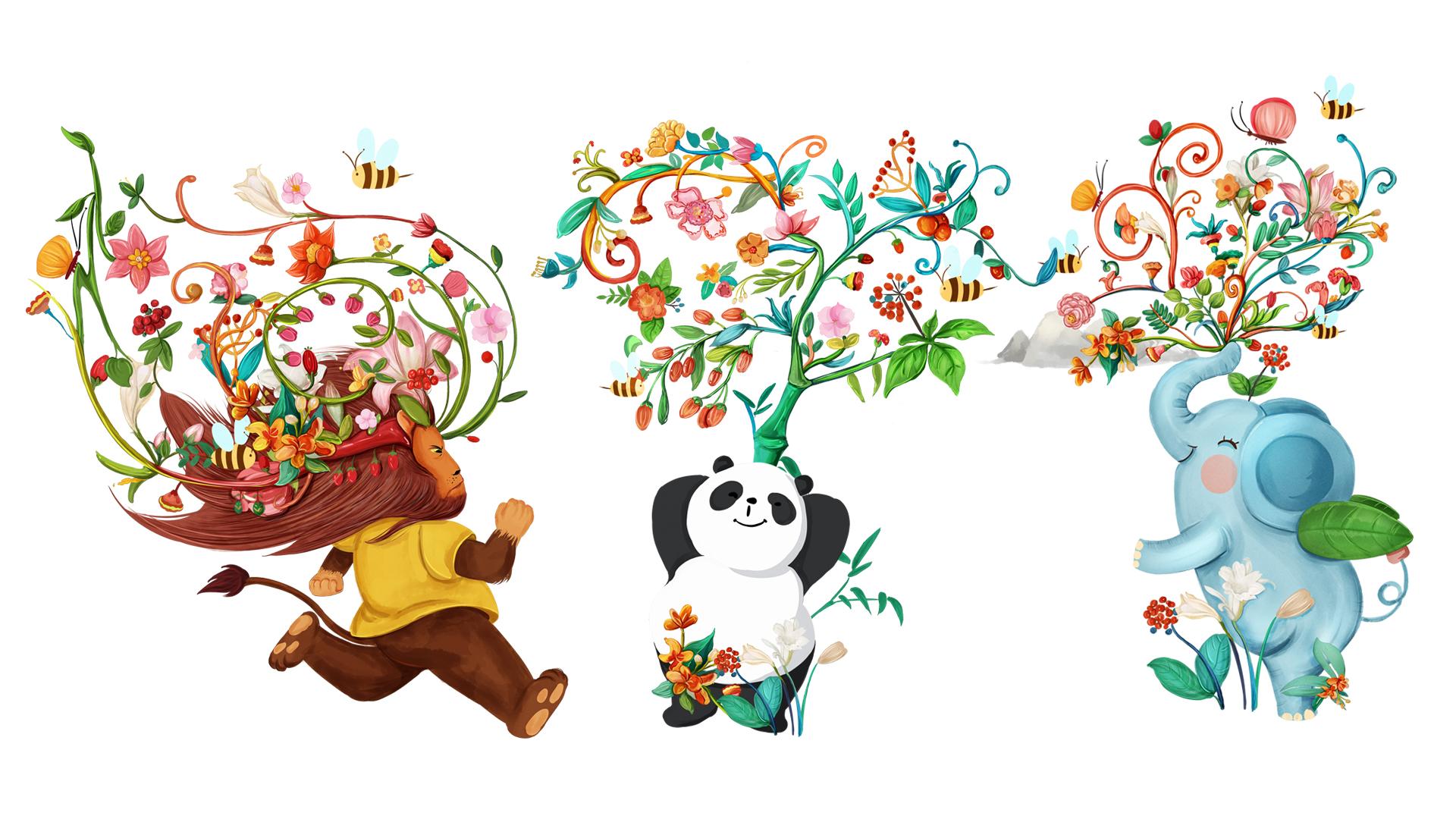 【包装插画】唯美时尚包装装饰水彩国画小清新商业广告插图产品
