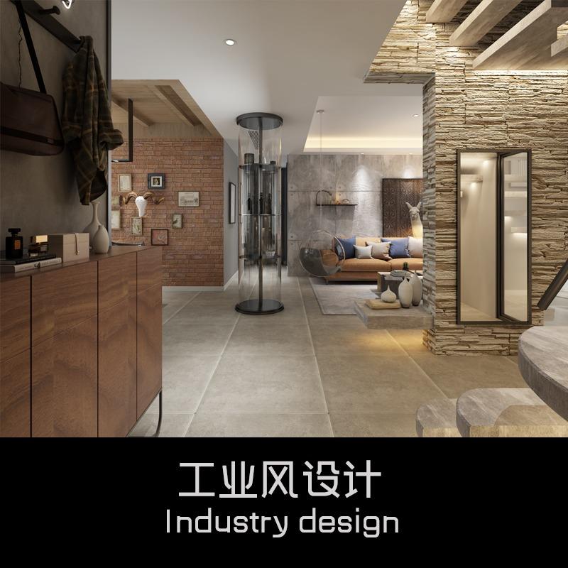 工业风室内设计<hl>家装</hl>现代混搭复式自建房效果图