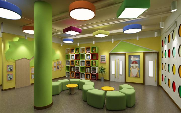 早教/培训机构/教育空间装修效果图/整体施工/教室/文化长廊