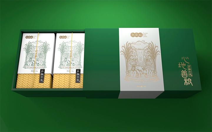高端原创大米包装设计大米包装盒设计大米包装袋设计插画大米包装