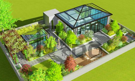 150-300欧式中式日韩现代屋顶花园设计庭院设计