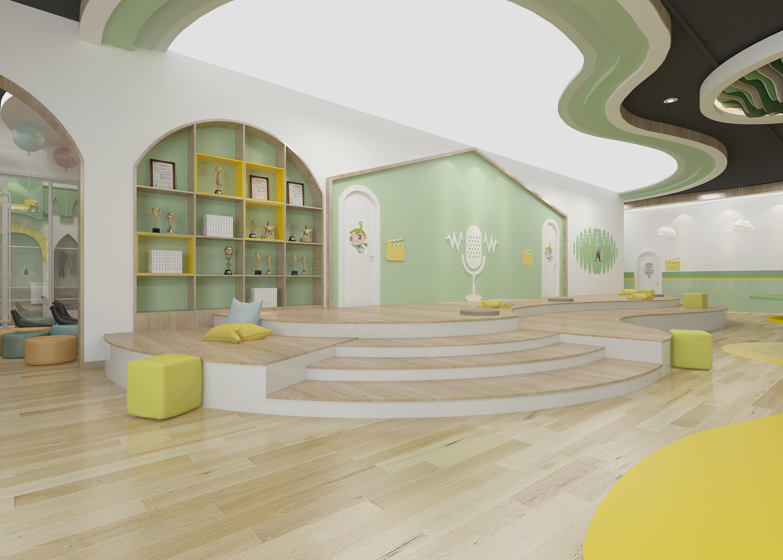 教育机构装修设计培训中心早教亲子托育幼儿园图书馆教室效果图