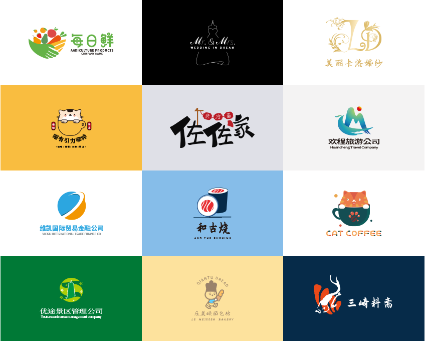 _LOGO标志设计商标英文卡通logo字体设计餐饮科技公司图标11