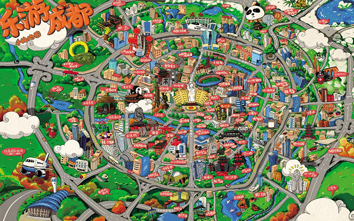 手绘地图高端电子卡通导航标注优化动画地图FLASH插画图表地