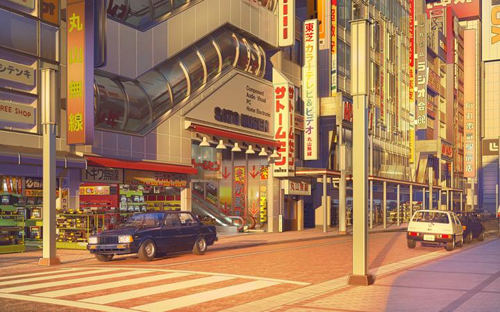 立体3D城市场景插画插图道路建筑房子插画设欧美城市街景建筑线