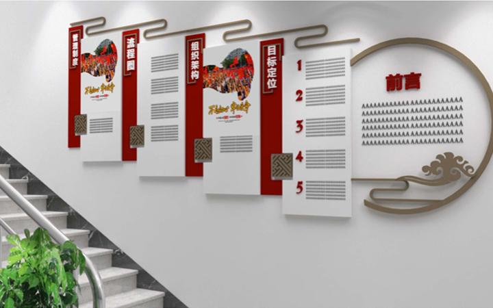3D效果门头设计效果图幼儿园办公室墙面设计渲染员工风采历程墙