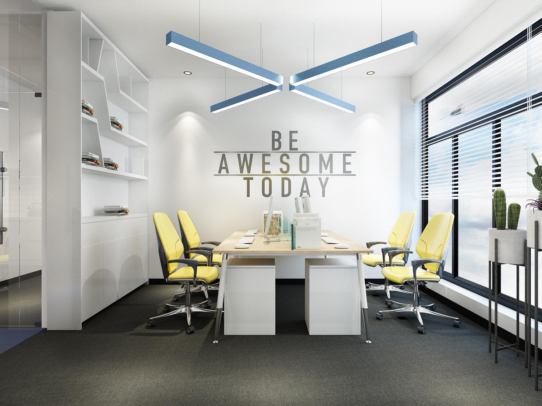 公装办公室设计装修效果图设计众创空间设计办公楼外立面装修设计