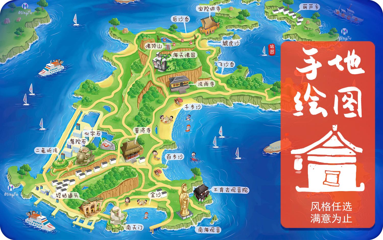 手绘地图  景区旅游地图乡村地图 景区导视图H5手绘漫画插图