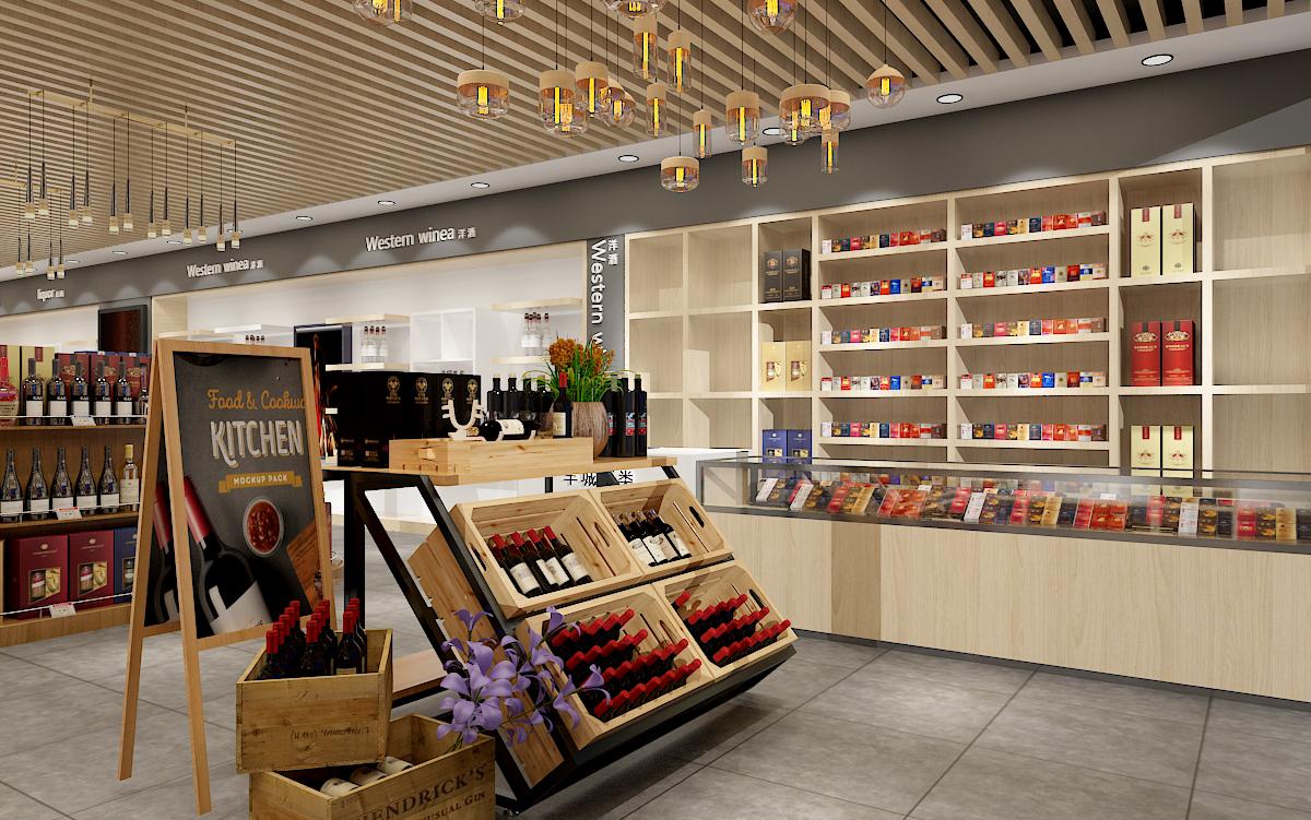 超市装修设计便利店效果图设计百货商场水果超市装修无人售货机