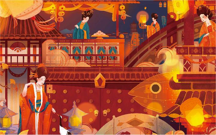 【插画包装设计】原创手绘插画 礼盒插画 系列插画 国潮插画
