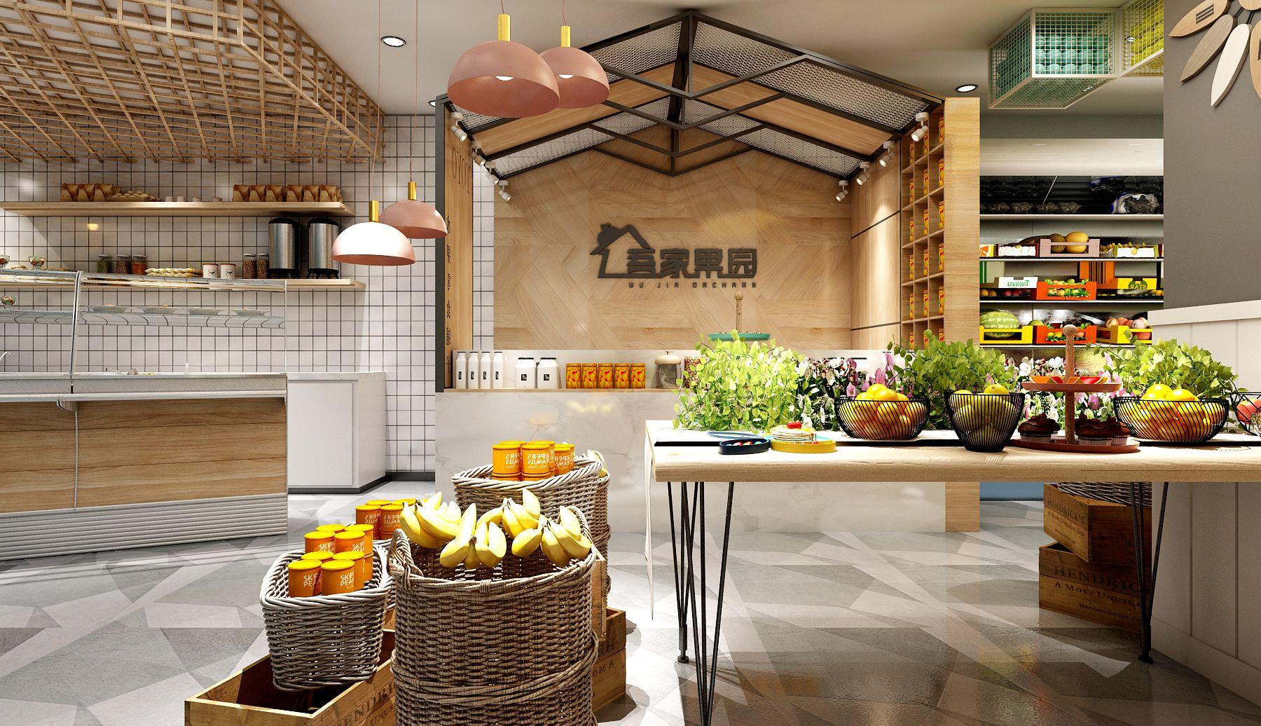 水果专卖店小超市水果社区生鲜方案设计蔬菜单体店铺效果图