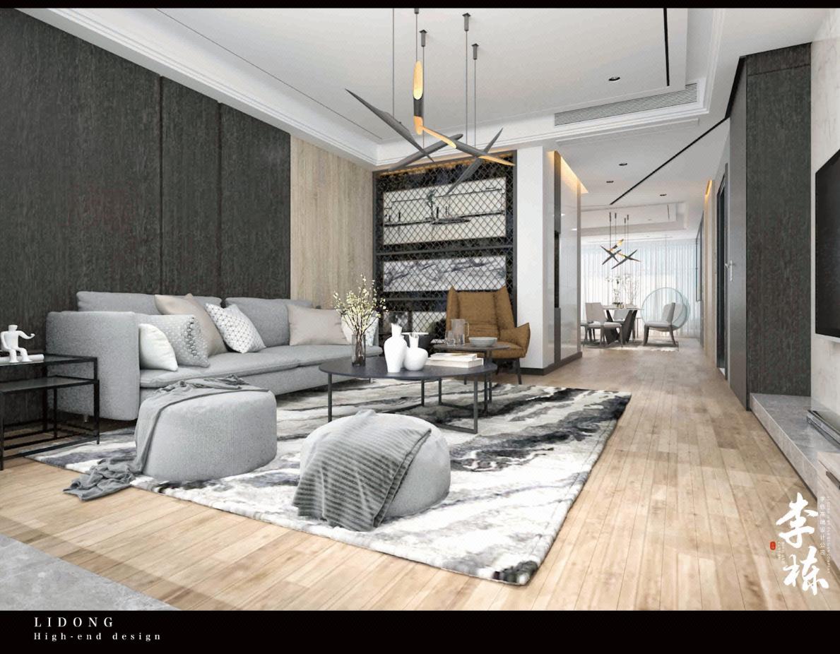 【李栋】现代极简家装,样板间,软装搭配,新房效果图,施工图