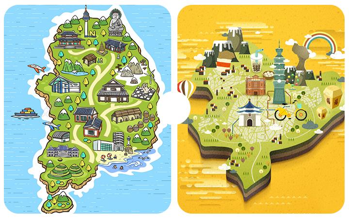 【特惠】时尚商业宣传手绘插画儿童绘本制作场景地图原画设计