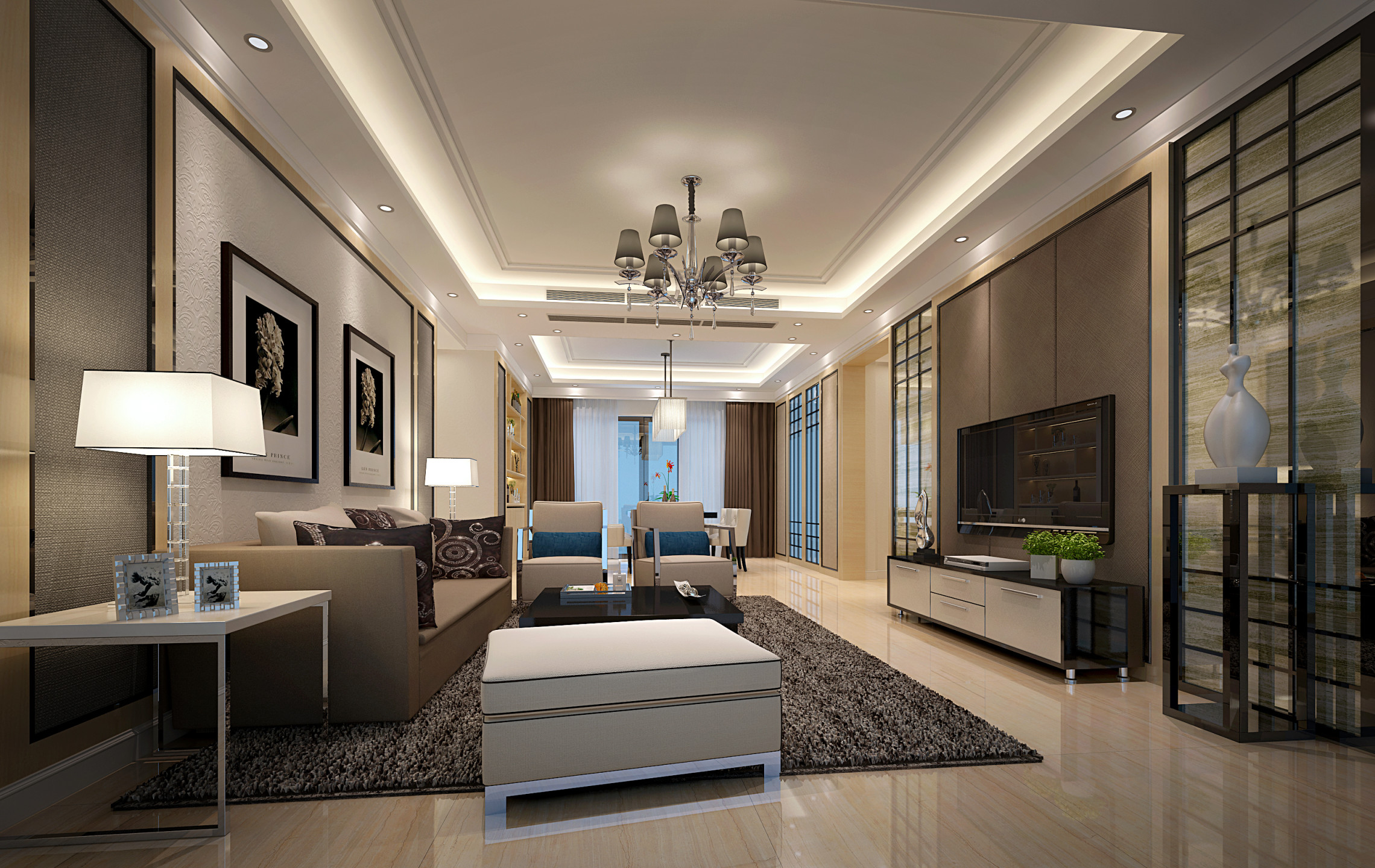 现代新中式风格室内设计装修设计新房装修别墅装修效果图制作