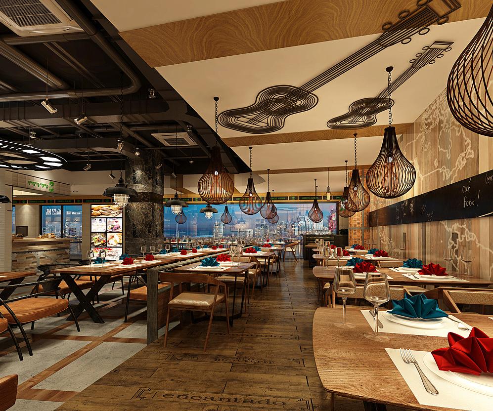 中西餐厅设计 火锅店装修 餐厅咖啡馆设计 餐饮店设计 效果图