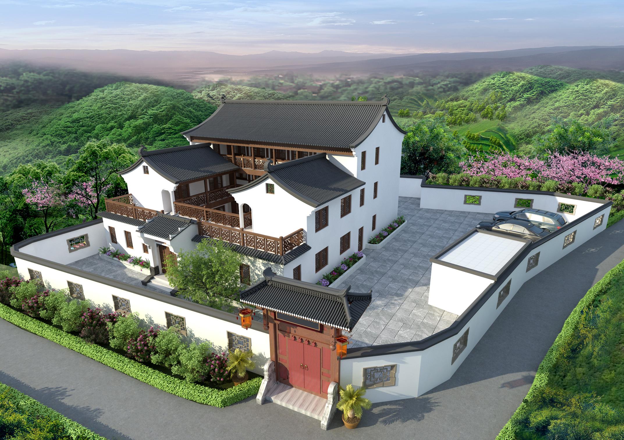 普通自建房别墅平面施工效果图建筑结构水电鸟瞰设计图