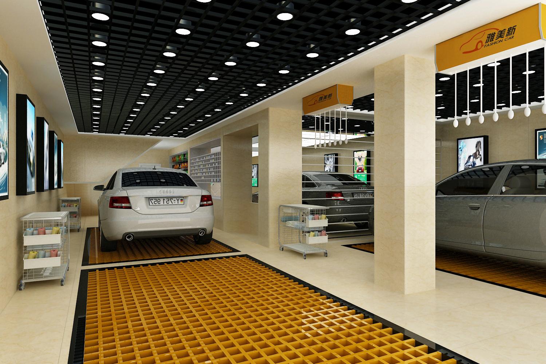 汽车美容店效果图门店汽车美容汽车维修汽车销售店铺设计