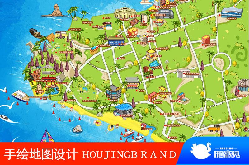 手绘电子卡通地图设计定制动漫画校园旅游景区域点导航导视图制作
