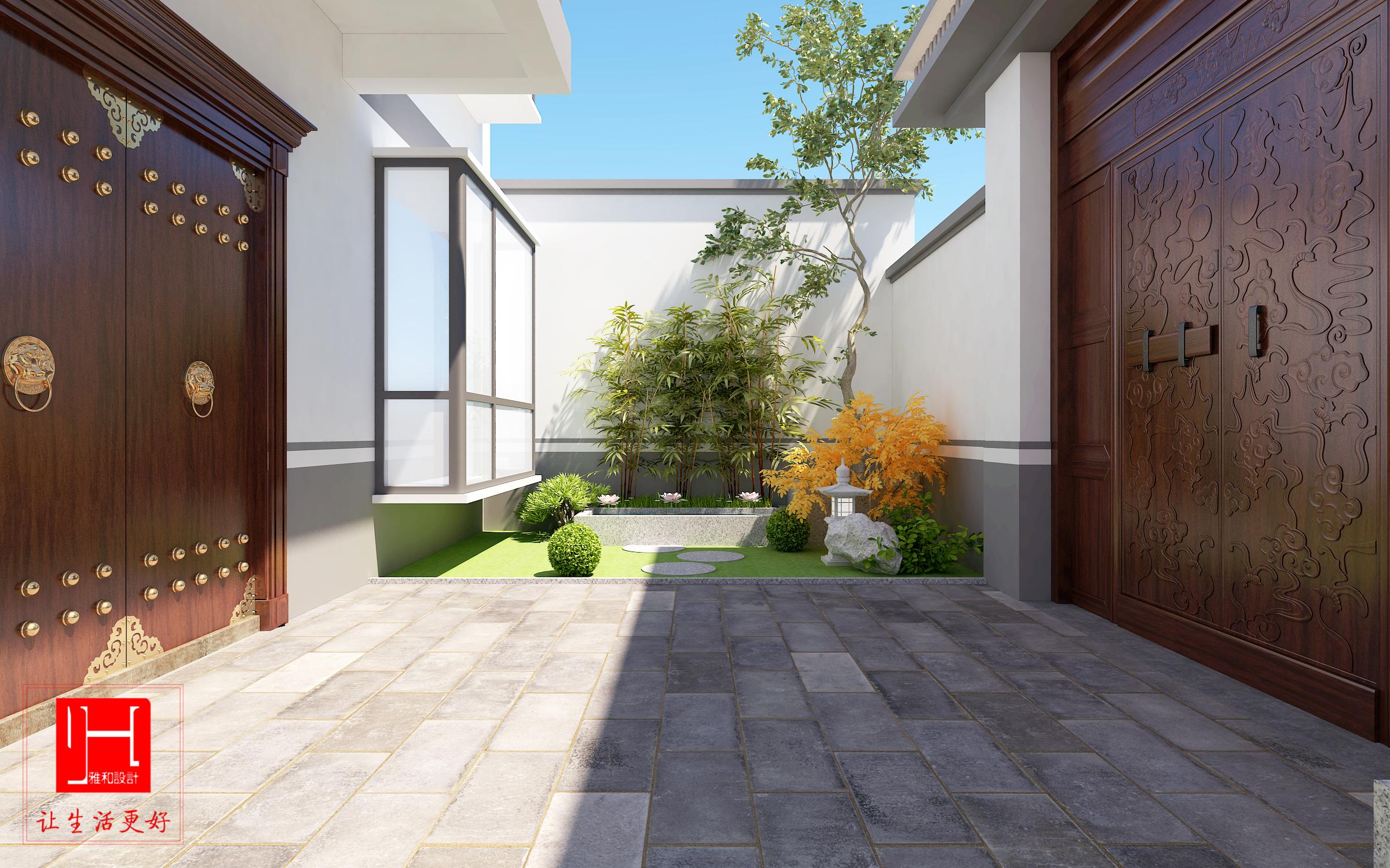 院子设计效果图庭院设计枯山水创意庭院中式庭院日式庭院设计