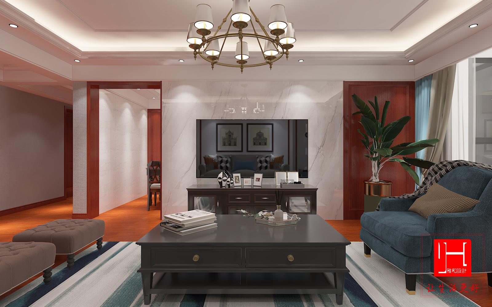 家装设计效果图施工图美式风格装修效果图施工图全案设计室内设计