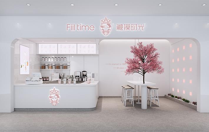 奶茶店装修设计.甜品店效果图.咖啡厅效果图.店铺设计门头设计