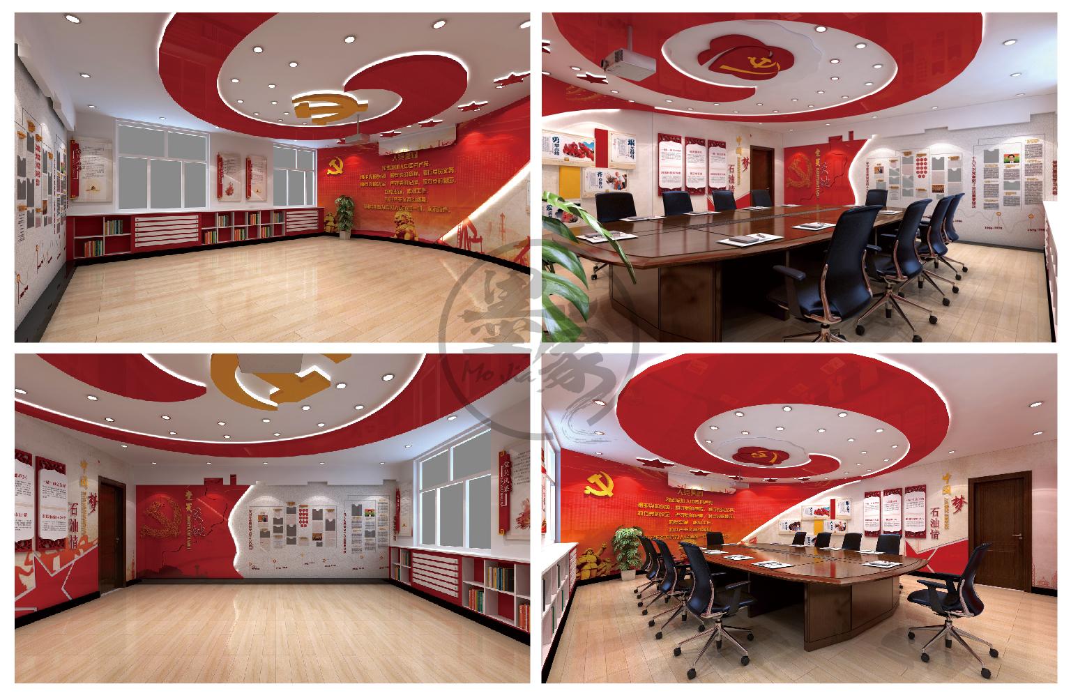 vr党建党员展厅红色企业文化墙服务活动中心企业建党周年庆设计