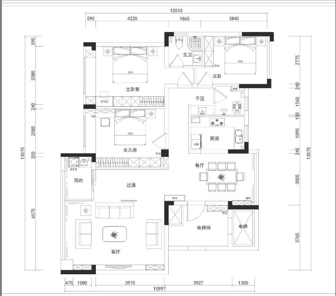 平面方案设计、彩平图设计、家装设计 200㎡以内