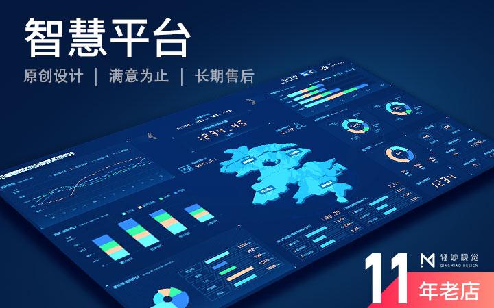 大屏可视化大数据展示软件UI页面设计界面监控监测图表应用桌面