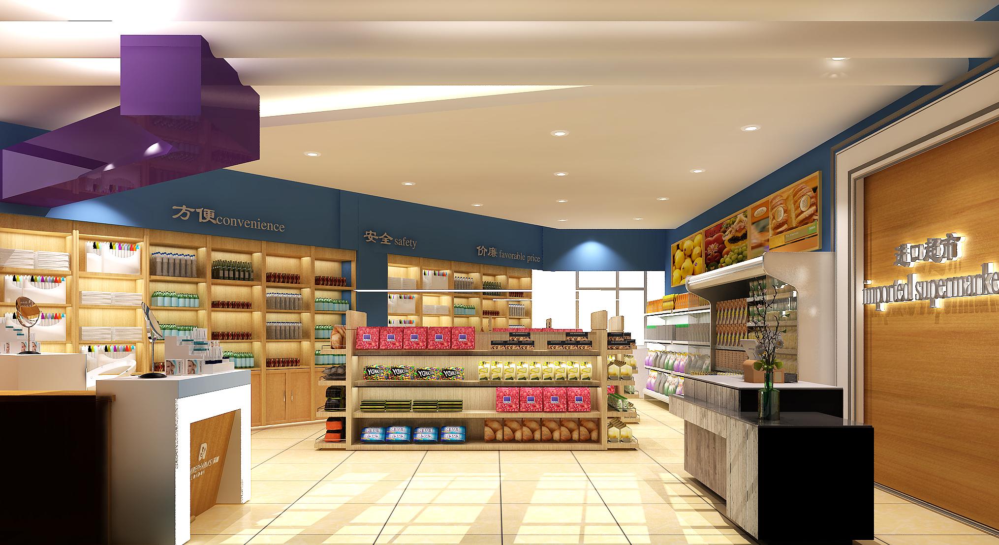 食品店,店面装修效果图设计