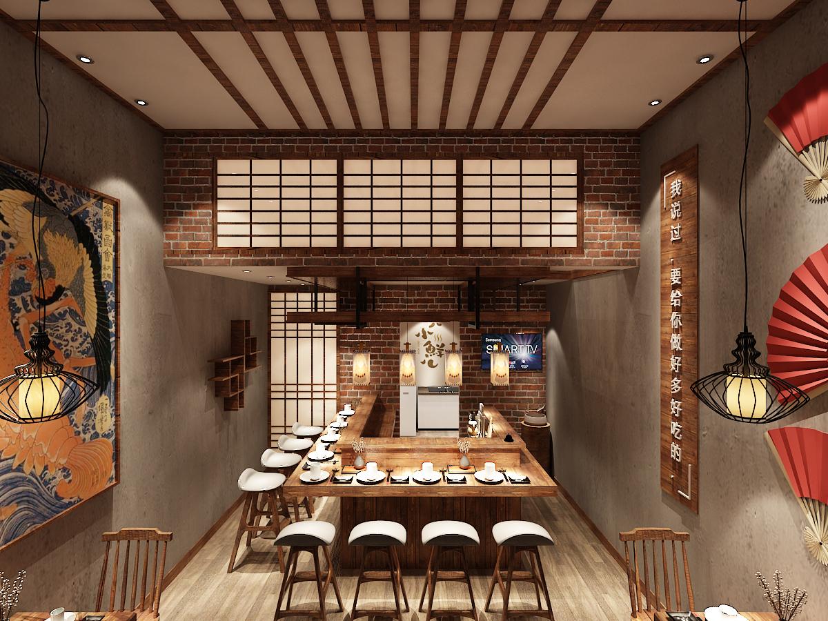 【李栋】.日式餐厅设计,餐厅效果图,日式料理店效果图,快餐店