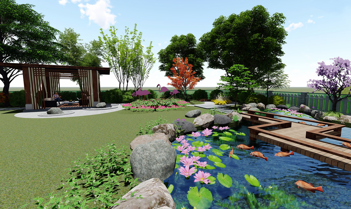 别墅庭院私家花园绿化景观设计效果图施工图建筑设计专业公司