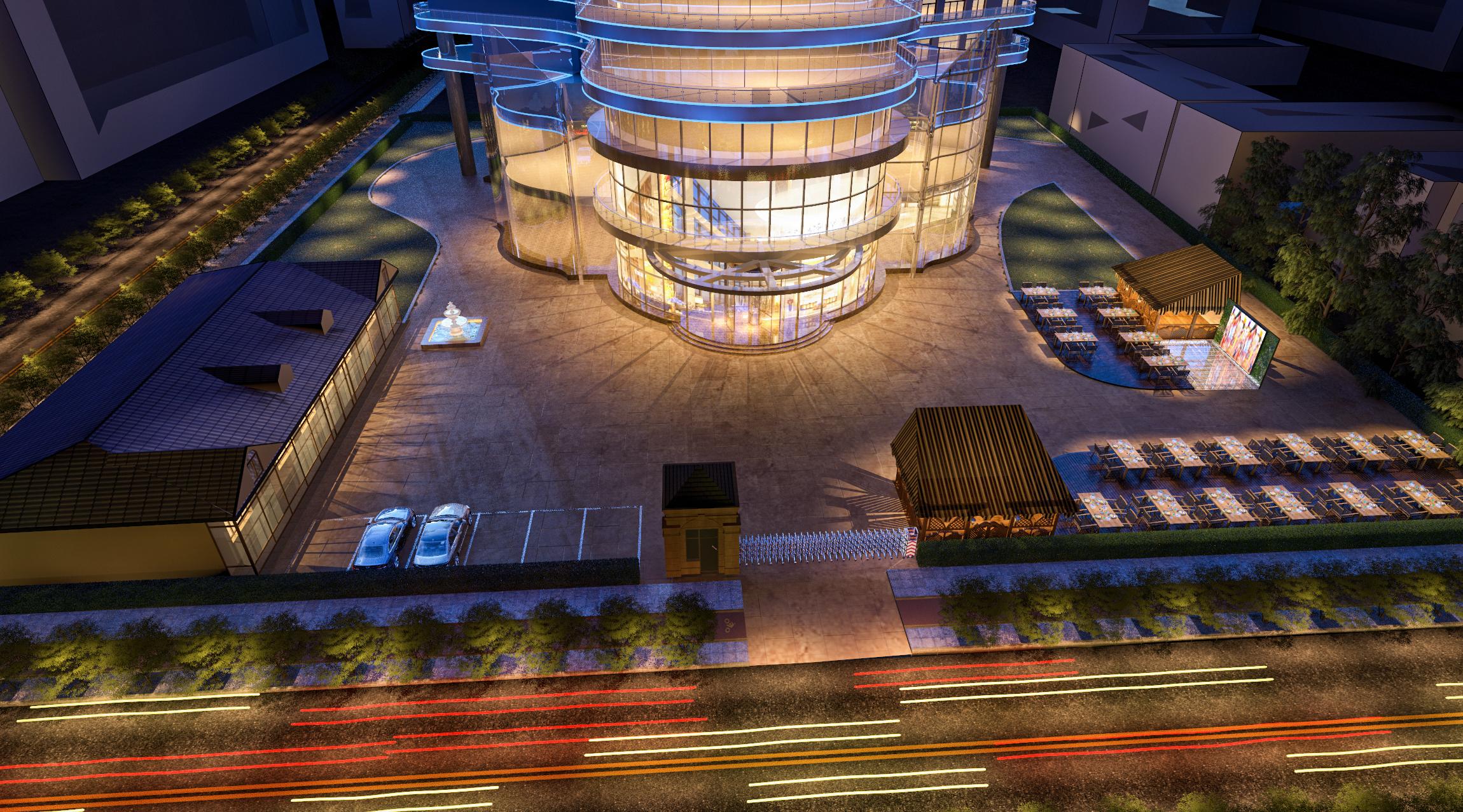 鸟瞰景观图3D建模施工图规划CAD图纸建筑园林3D效果图设计