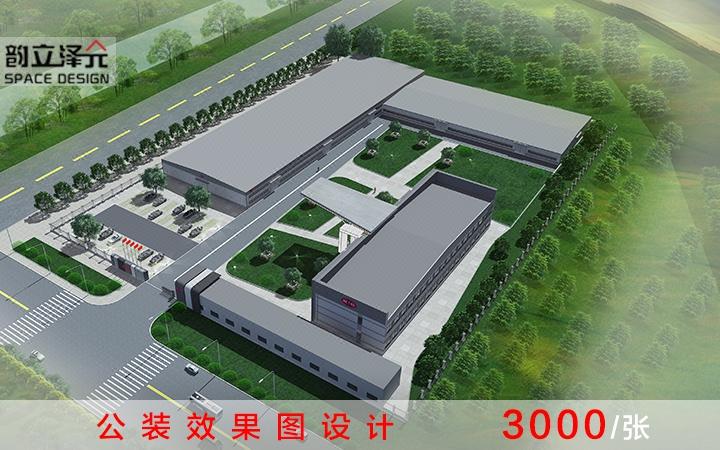 简约风工厂外观绿化设计 工厂外观绿化全套设计  工厂办公绿化