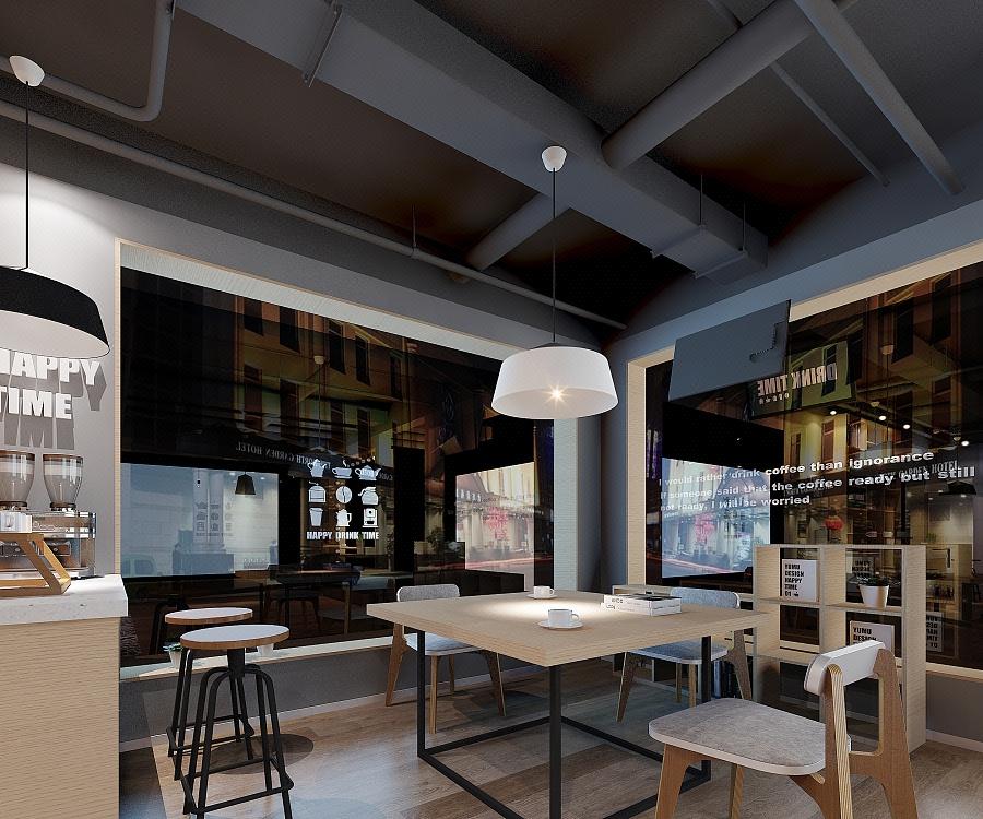 咖啡厅奶茶店甜品店面门面装修设计店铺公装设计门头效果图设计