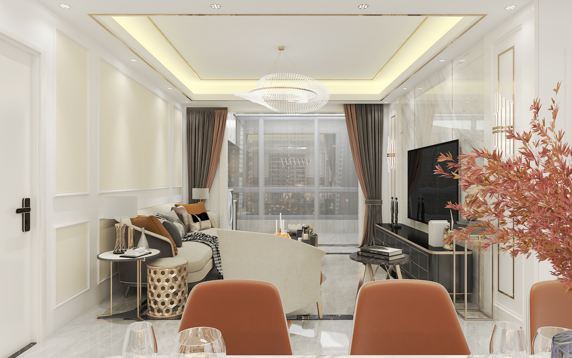 室内设计效果图家装设计装修设计施工图新中式现代简约VR全景图