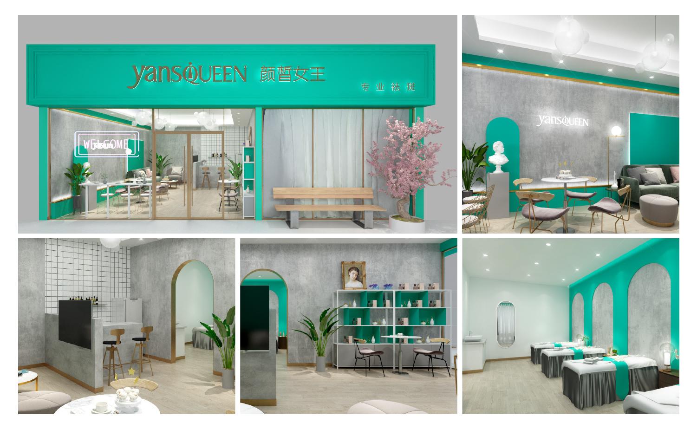 空间设计美食餐饮店门头美容健身店面室内装修设计文化墙酒店大厅