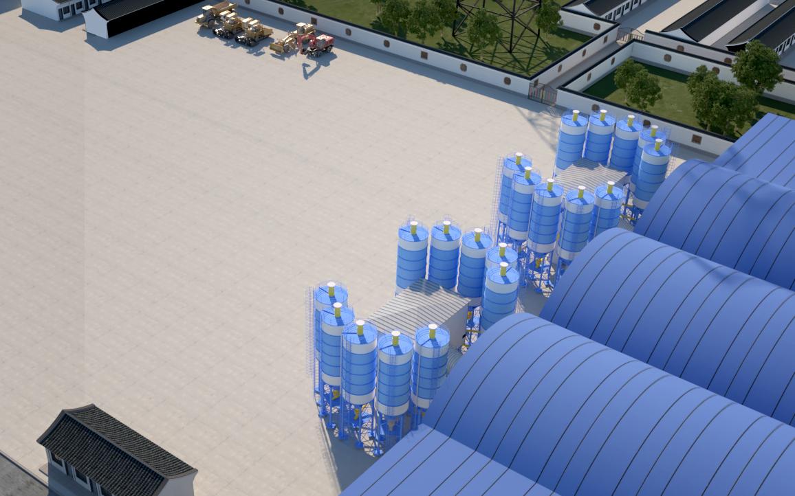 工程工装设计服务建筑园林厂房鸟瞰景观效果图工厂大门园区工场房