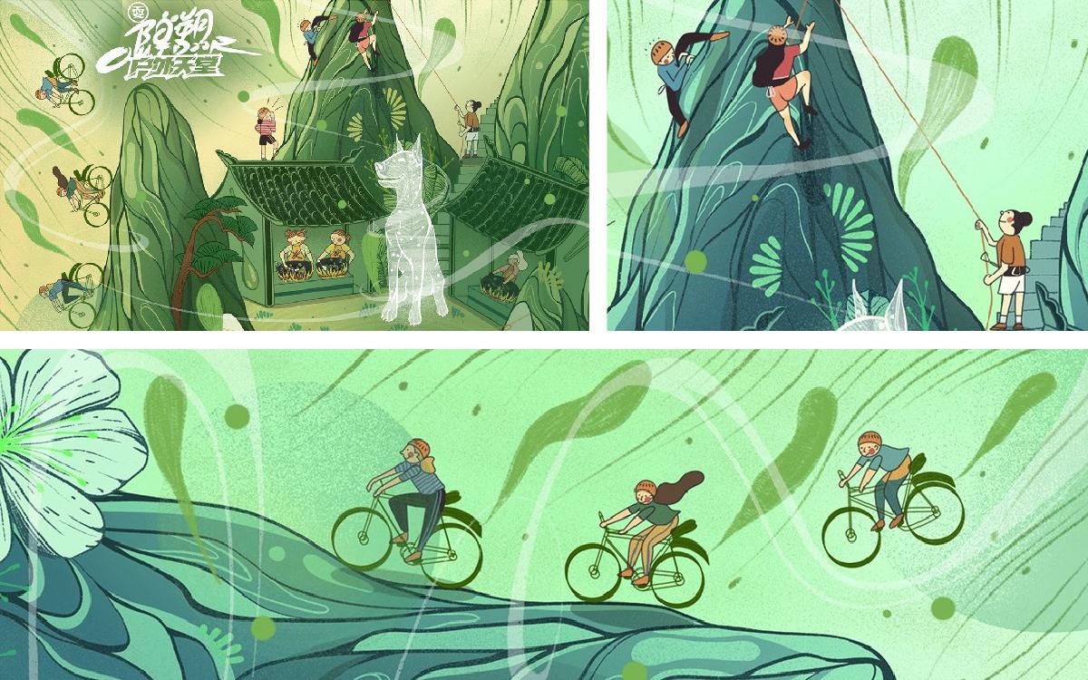 商业人物插画生活购物户外圣诞节场景圣诞老人旅行港风插画设计