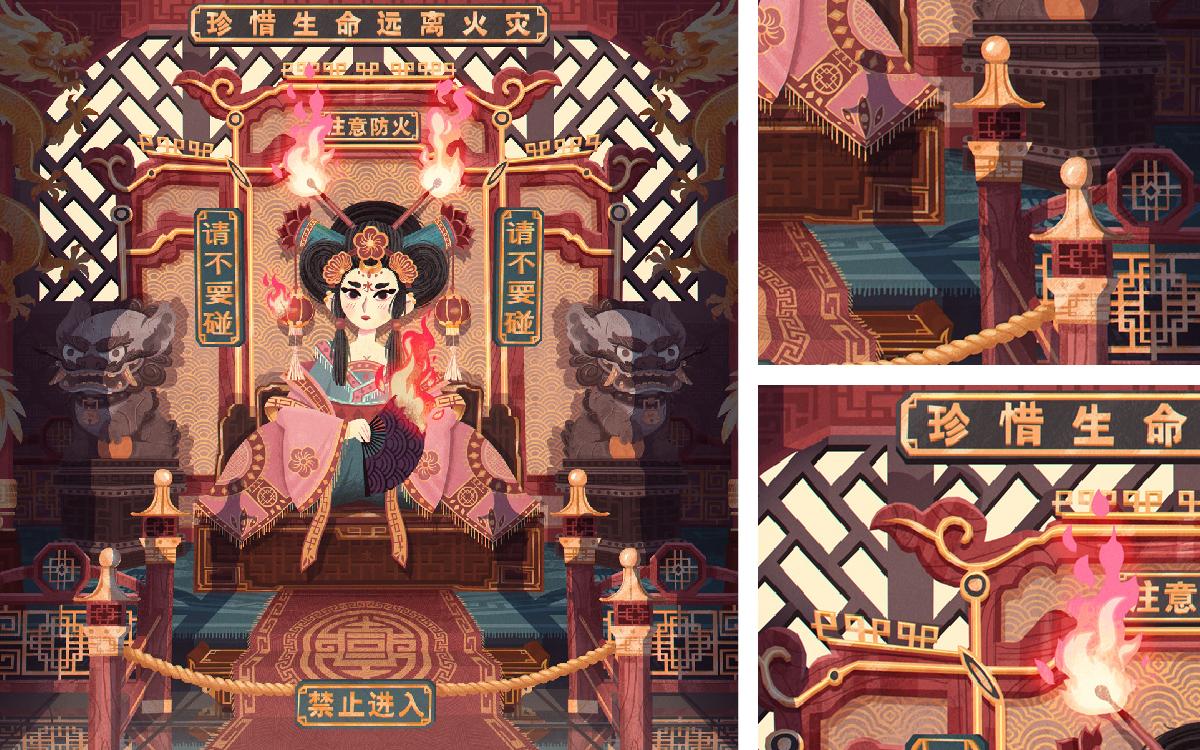 中国风国潮文化城市万里长城旅游景点建筑插画设计