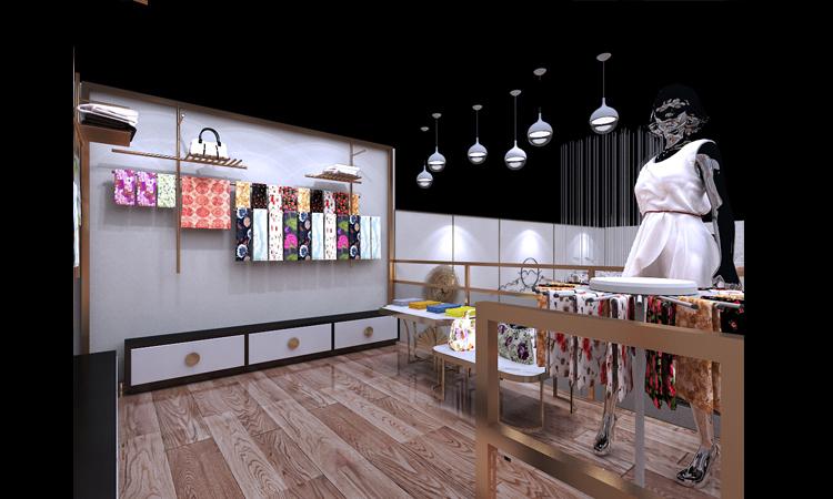 服装店铺设计/制服展厅装修设计/丝绸专卖店/门头室内装修设计