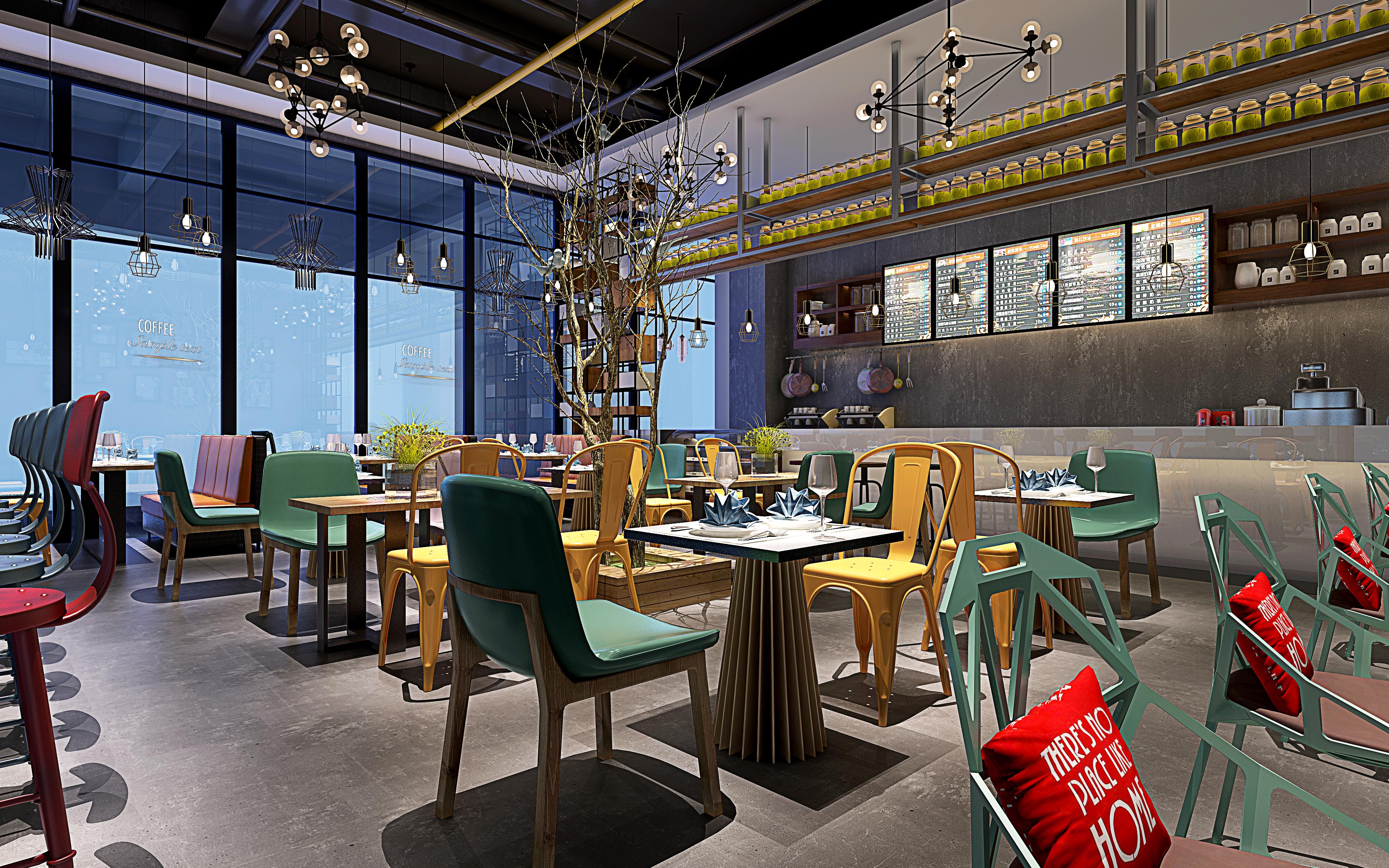室内装修设计效果图餐饮小吃门头设计主题休闲餐厅火锅店料理饭店